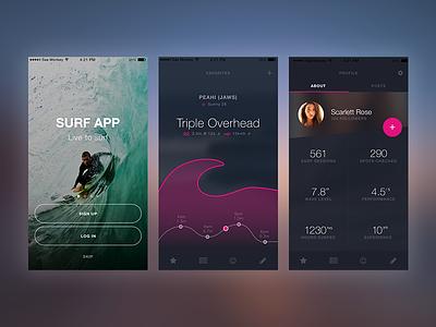 Surf App Mock Up ui mobile app surf