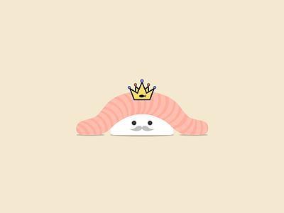 King of Sushi tuna mustache sashimi crown illustration icon king sushi