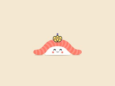 Queen of Sushi tuna sushi sashimi queen illustration icon crown
