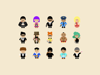 Game Characters people cute casino icon characters flat