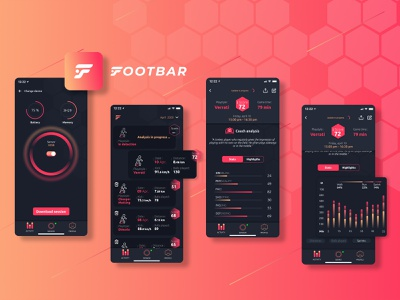 Footbar ⚽ Soccer App product ui  ux e-game application user interface footbar branding app connected device activity tracker data sportapp gameplay branding red statistics sport soccer football