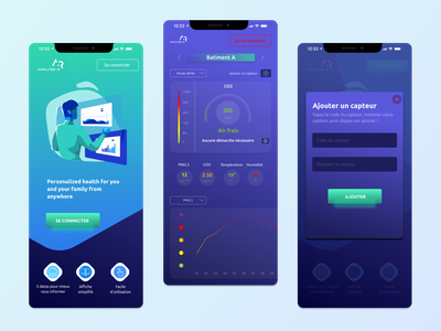 Analyse-r, air quality tracker mobile medicine healthcare smog interior design medical dashboard health clean android ios interface data stats tracker air quality covid-19 mobile ui ux