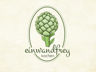 Einwandfrey Kochen Logo Desing food crafts design vector hand drawn branding vintage sketch logo artwork