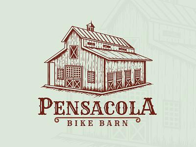 Hand Drawn Logo of Pensacola Bike Barn illustraion old style design vector vintage sketch logo hand drawn crafts branding artwork