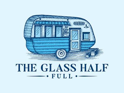 The Glass Half Full  Hand Drawn Logo Design food bus food cart ui illustration hand drawn artwork design vector vintage sketch logo