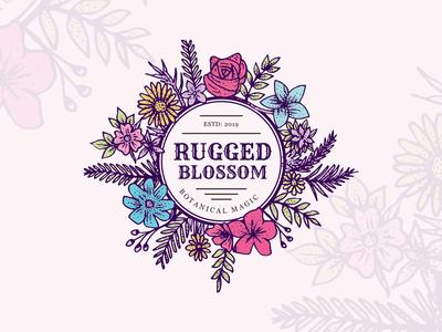 Rugged Blossom Vintage Logo Design