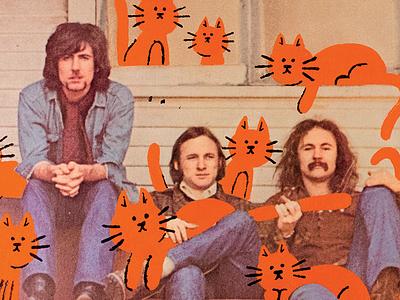 Crosby, Stills, Nash & Cats cats vinyl record music paint illustration