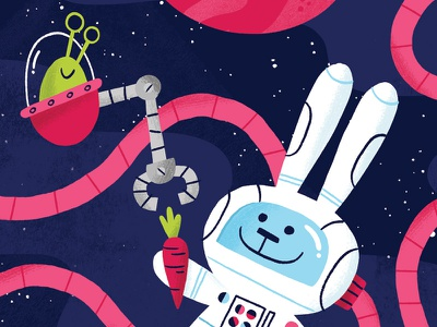 Sharing Is Caring space product character illustration