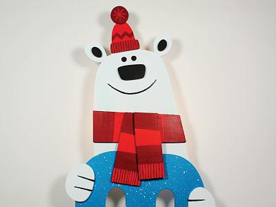 Polar Bear Wall Light / Coat Rack character acrylics animal diy wood illustration