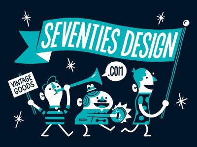 Seventies Design Promo promotional character lettering typography illustration
