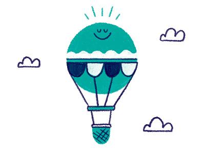 Hot Air Balloon kids character spot illustration