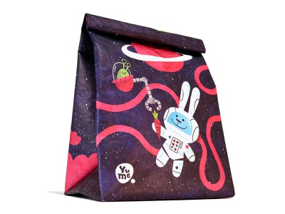 Astro Bunnies package design illustration lunchbag space bunnies animals reusable environment