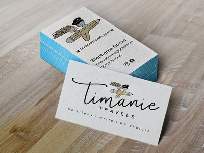 timanie Letterpress Business Cards MockUp stationery travel logo travel blog business cards businesscard