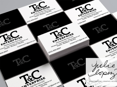 T and C business cards ampersand black and white blackandwhite cleaning company branding business cards business card design