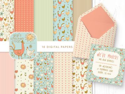 Gigi's Chicken Coop PAPERS repeat pattern animals farmland farm illustration surface pattern pattern digital paper roosters chickens digital papers