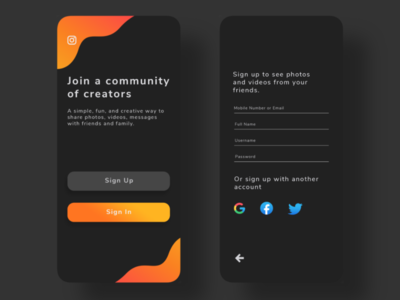 Instagram LogIn Screen Concept - Dark Mode dark mode dark theme gradient color user interface mobile app design mobile app uidesign design app