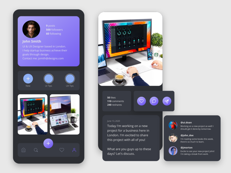 Social App UI gradient color ui app design user interface uidesign mobile app design mobile app