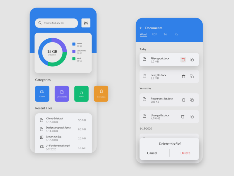 File Manager UI file manager user interface uidesign design ui app design mobile app mobile app design