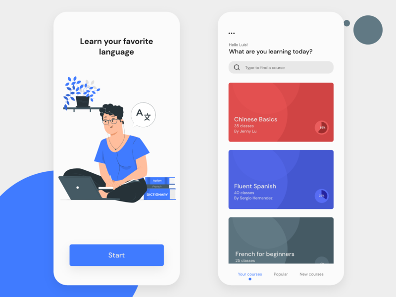 Language Learning Platform app design language learning language app design uidesign user interface mobile app design mobile app