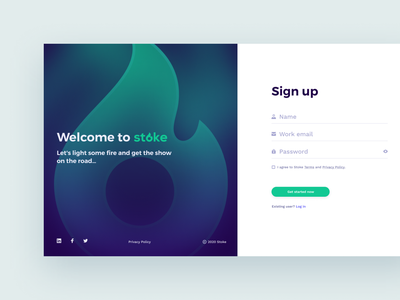 WELCOME to Stock - Signup password login page welcome page login signin signup app hiring talent application product interface design ux ui