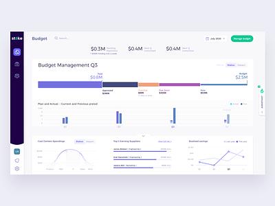 STOKE Platform - Budget management money fintech finance budget filters application talent platform freelance design freelance system cards ui ux design product data dashboard interface app