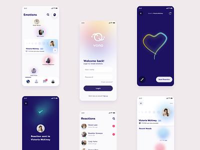 Vono - Emotion App technology connection mobile app mobile socialmedia social user emotions emotion gradients clean application gradient cards product app interface design ux ui