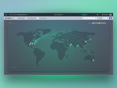 ClarOTy - World map connection product design cyber data world dashboard map ux ui