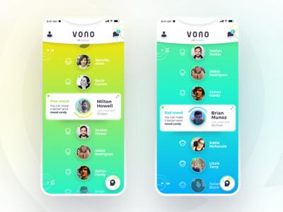 VONO App color mood interface profile navigation cards gradient ui ux application app design