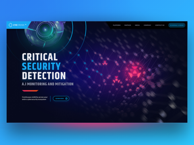 Cyecross target image ai page landing eye security cyber intro website ui ux