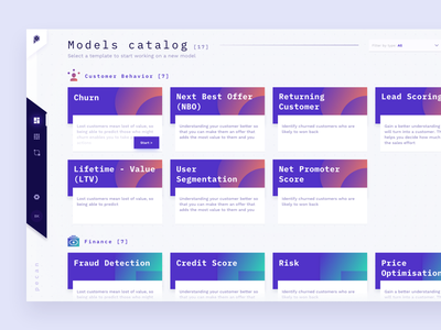 Model Catalog color icons icon gradient prediction machine learning application catalogue catalog clean system cards product app data dashboard interface design ux ui