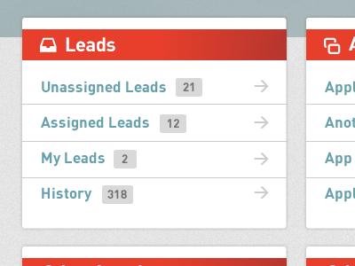Leads app interface