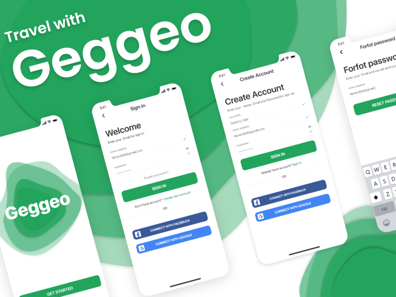 Mobile app Geggeo sign in interface registration page register form green mobile app design mobile ui mobile flat app ux ui design