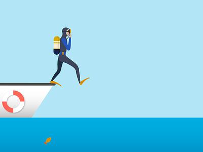 Diver Giant Stride Illustration blue illustrator vector giant stride sea water diver