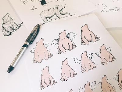Mascot WIP rantmedia brand sketching icon logo mascot bear