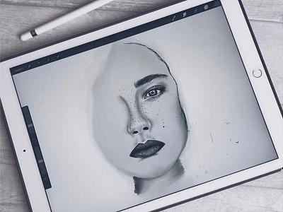 iPad Sketch WIP digital art portrait face drawing illustration sketch apple pencil ipad pro