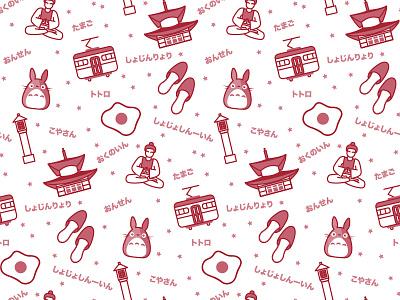 Koyasan Pattern vector illustrator japanese totoro japan colour red illustration pattern
