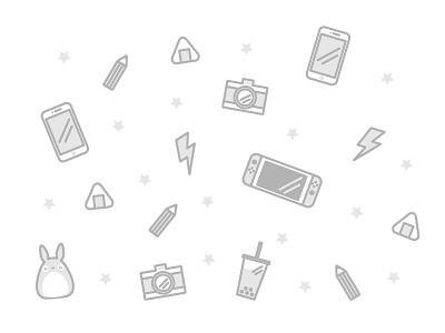 Icons grey monochrome illustrator illustration totoro bubble tea iphone nintendo icons