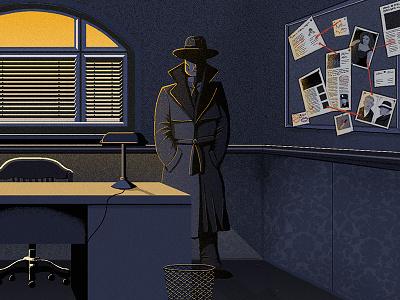William Jones film noir blue ipad pro apple pencil educational welsh tafol william jones illustration