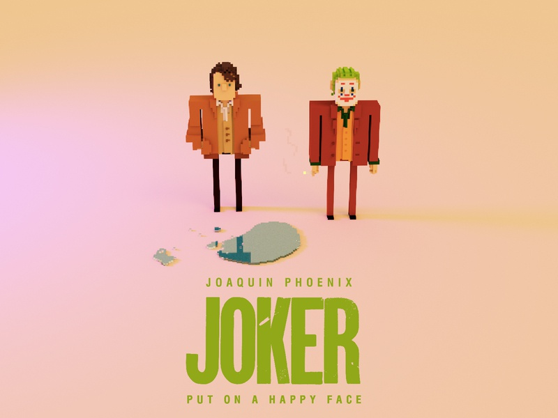 Joker- put on a happy face( second edition) movies poster megavoxel magicavoxel voxel art voxelart voxel design character illustration