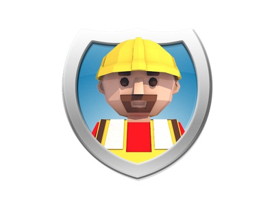 Low Poly Construction Worker Icon construction worker badge cinema4d character person c4d icon 3d low poly