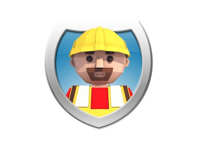 Low Poly Construction Worker Icon