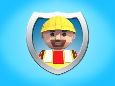 Iconography Shields Worker construction worker badge cinema4d low poly 3d icon c4d person character