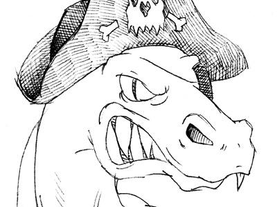 Trexthepirate sketch loose dinosaur t-rex pirate mascot colindpritchard