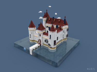 castle voxelart voxels house isometric design castle illustration magicavoxel