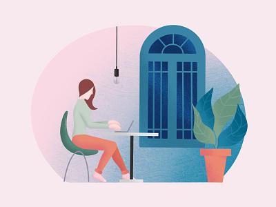 Working From Home telework flat design digital illustration procreate creative illustration design