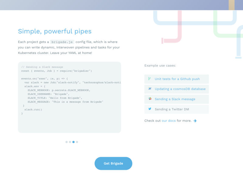 brigade.js code samples source open deis kubernetes devops azure website cicd pipelines javascript brigade