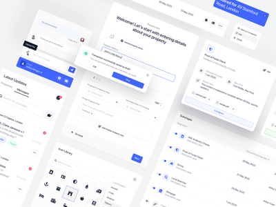 Property Dashboard Components flat components ui elements property management property component library component design cards atomic design design system component dashboard web design clean simple ux minimal ui