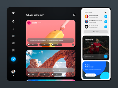 Twitter Concept Dashboard ui ux minimal clean simple design app flat illustration dashboard twitter dark icon web redesign football facebook cards