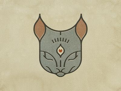 Cat's senses tatoo mark third eye cat cat logo logo badge
