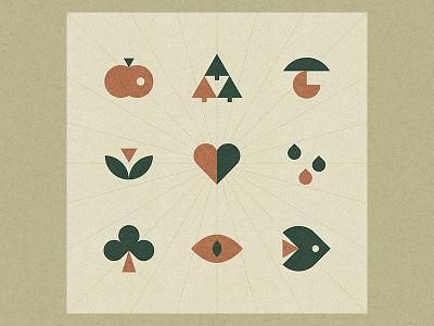 Nature icons animal sign geometric logo design fungus heart rain tree eye forest apple flower fish mark symbol icon logo nature